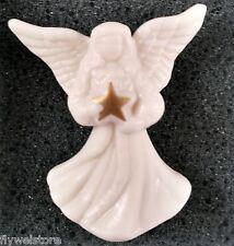 "Lenox Pin Angel Holding Gold Star Cream Porcelain Brooch 1.5"" Christmas in Box"