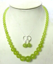 Pretty Natural 6-14mm Peridot Round Gemstone Necklace 18"