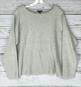 Eileen Fisher Sz XL Pullover Sweater Beige Cream Linen Cotton Blend Textured
