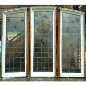 Large Reclaimed Nautical Themed Stained Glass Triptych Window 0987