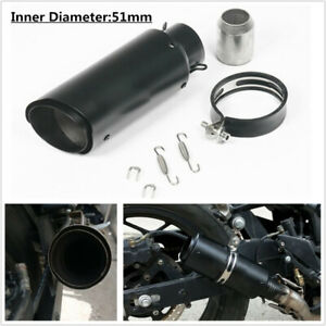 """Motorcycle 51MM 2"""" Caliber Exhaust Pipe Muffler Silencer Slip On Rear Tail +Clip"""