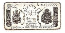 20 Gram Pure 999 BIS Hallmarked Loose Silver Ganesh Lakshmi Note / Bar for Gift