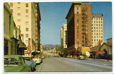 Hollywood & Vine Boulevard Cars Hollywood California 1950s postcard