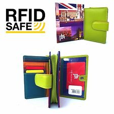 RFID SAFE Prime Hide London Collection Green Multi Coloured Leather Purse 6081