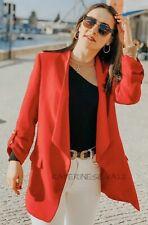 Zara Red Blazer With Lapel Collar Size L UK14 Bnwt