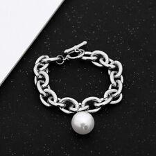 Fashion Women Pearl Metal Chain Retro Punk Bangle Bracelet Jewelry AccessoNWUS