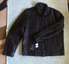 Tommy Hilfiger Mens Black AUTHENTIC Leather Jacket Size L...