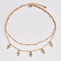 Gold Plated Fashion Women 2layer Beads Chain Crystal Cross Pendant Necklace Gift