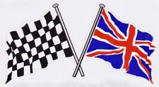 Crossed Chequered & Union Jack Flag Sticker