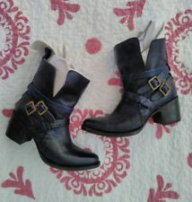 NIB! $295 FREEBIRD BY STEVEN 'SAINT' BLUE STRAPPY LEATHER ANKLE BOOTS 7M!