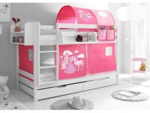 Etagenbett Hochbett Spielbett Kinder Bett Weiß 90x200cm Vorhang Prinzessin Rosa