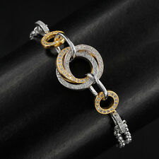 WOW!! EXQUISTE AAA! CUBIC ZIRCONIA STERLING SILVER 925 2-TONE BRACELET