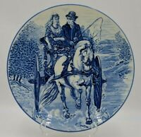 Vintage Boch Delft Royal Sphinx Charger Plate Blue Carriage Ride Wired to Hang 1