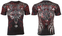 XTREME COUTURE by AFFLICTION Men T-Shirt BOLD CIPHER Wings BLACK Biker $40
