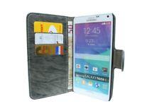 BOOK-Style Zubehör Hülle Samsung Galaxy Note 4 N910F // Anthrazit + SCHUTZFOLIE