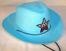 KIDS BLUE COLOR COWBOY HAT W  USA STAR child headwear childrens BOY cowgirl GIRL