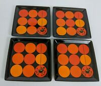 "Set 4 Crate & Barrel Halloween Square Plates 6.25"" Spider Orange Black Appetizer"