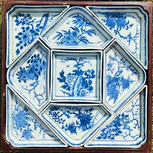 Chinese Antique Porcelain Blue And White Nine Plates Flower Set 19th Centuries