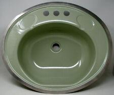 Vintage Mid Century Modern Retro Bathroom Sink Green Enamel Metal Steel    NICE!