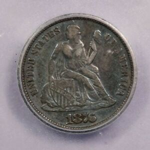 1876-CC Seated Liberty Dime ICG VF30 Details old blue album toning