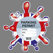 PARKING PERMIT Holder GB SPLAT self-cling window graphic, decor – Freepost