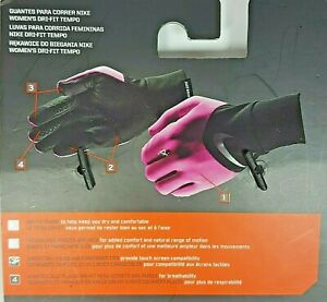 Nike DriFit Tempo Womens Running Jogging Hiking Gloves Magenta Black Large NEW