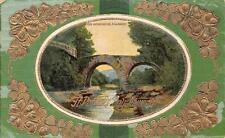 ST. PATRICK'S DAY HOLIDAY IRELAND WEIR BRIDGE GEL-COATED EMBOSSED POSTCARD 287