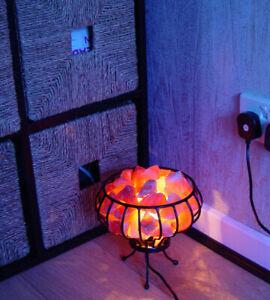 Natural HIMALAYAN LARGE SALT LAMP CRYSTAL PINK ROCK SALT WITH HEALING BASKET