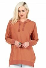 2016 NWT WOMENS VOLCOM LIVED IN LONG PULLOVER HOODIE $52 S burnt sienna venting