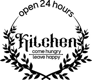 Kitchen Come Hungry Leave Happy Farmhouse Vinyl Design Wall Decal Sticker 11x11