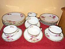 vintage shafford japan china set, 20 pc, 5 settings, floral, gold rim