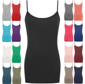 WOMENS VEST TOP PLUS SIZE STRAPPY LADIES TANK TOPS CAMI BODYCON JERSEY SUMMER