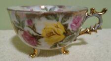 "2.25"" Vintage Floral Lusterware Footed Tea Cup 1977 Fan Crest"