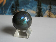 37mm LABRADORITE SPHERE (SPECTROLITE) 79.24g:Madagascar Metaphysical: Reiki #31