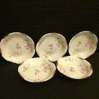 "Warwick China A2002 5 1/8"" Dessert Fruit Bowl Lot of 5 Blue Pink Gold Daubs"