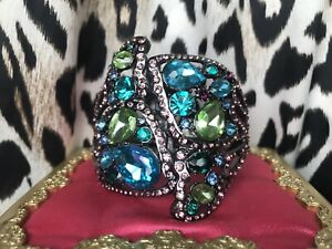 Betsey Johnson Butterfly Effect HUGE Jeweled Crystal Wing Hinged Bangle Bracelet