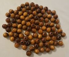 Lot of 100 Vintage Small 18mm Round Maple Wood Macrame Craft Wooden Beads