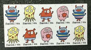 2021USA Forever Message Monsters - Block of 10 postage
