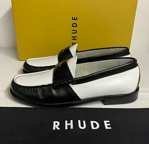 Rhude Slip On Loafer Black White Leather 10 UK 44 EU New Boxed Made In Italy