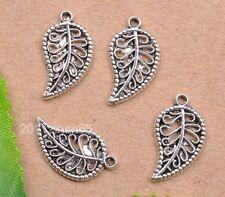 wholesale 30pcs tibetan silver hollow leaves Charm Pendant Fit necklace 18mm