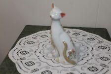 Vintage.Ceramic.Cat, With Pink Flowers.Figurine