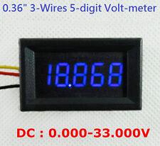 """4-1/2"""" 4.5-Digit Volt meter Panel Counter BLUE LED DC 0 to 33V 3-Wires Display"""