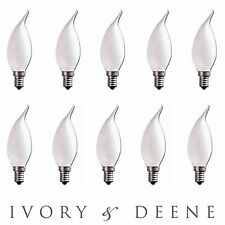 10pc E14 NEW FROSTED CANDLE GLOBE FLAME TIP CRYSTAL CHANDELIER LIGHT LAMP BULB