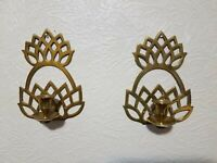 2 Pc. Brass Pineapple Metal Wall Sconce Candle Holder Hollywood Regency Set Pair