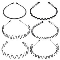 6X Metal Sports Hairband Wavy Sports Men's Women's Hair Hoop Band Headband Mode
