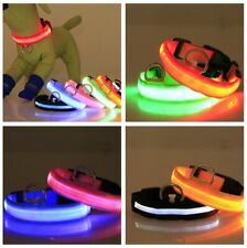 LED Light up Dog Collar Pet Night Safety Bright Flashing Nylon Leash Adjustable