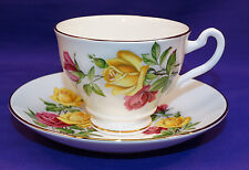 IMPERIAL BONE CHINA COFFEE / TEA CUP AND SAUCER SET PINK YELLOW ROSES ENGLAND #2