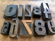 Antique Letterpress Printers Wood Type Numbers 0 Thru 9 Eclectic Collection Set