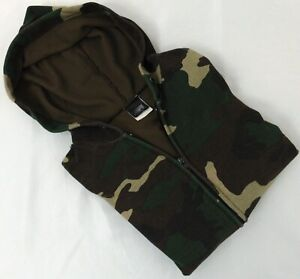 Ace Sportswear Vintage Wdld Camo Zip Front Thermal Lined Hooded Sweat Size Large