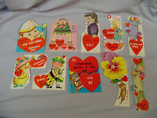 """Valentines Cards Mixed Lot Of 10 Cards #5 All Fold To Around 3.25""""x2.5"""" 1960's"""